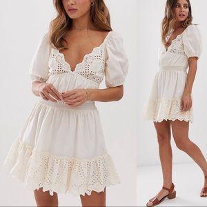 ASOS DESIGN Sweetheart Broderie Mini Dress